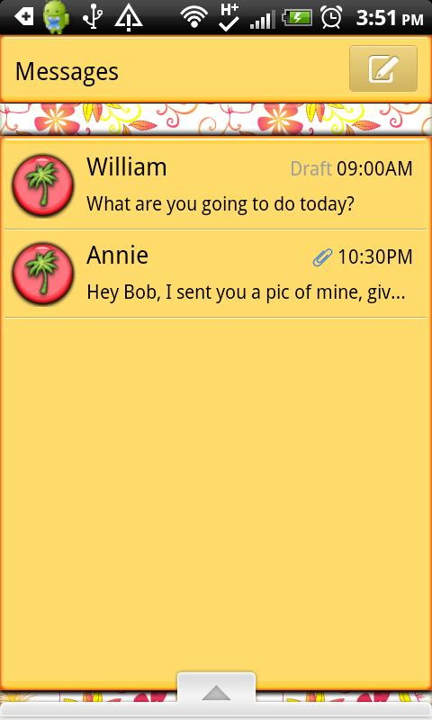 GO SMS THEME/Hawaiian1- screenshot