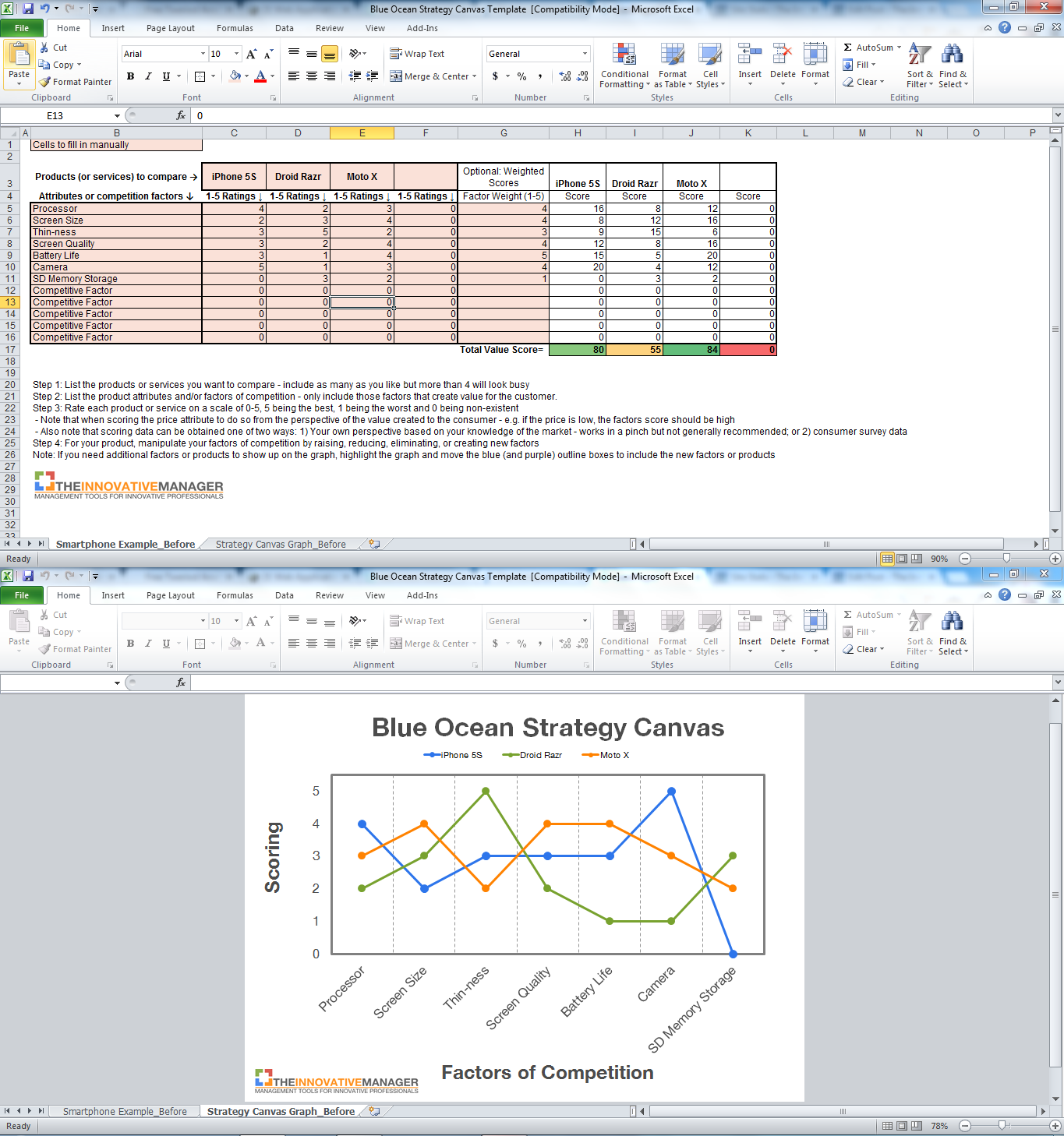 Blue Ocean Strategy Canvas Excel Template