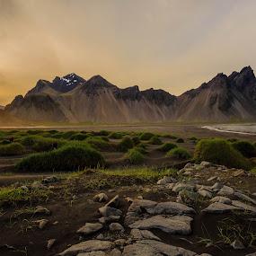 Midnight beach by George Marcu - Landscapes Waterscapes ( iceland, mountain, beach, midnight sun, waterscapes,  )
