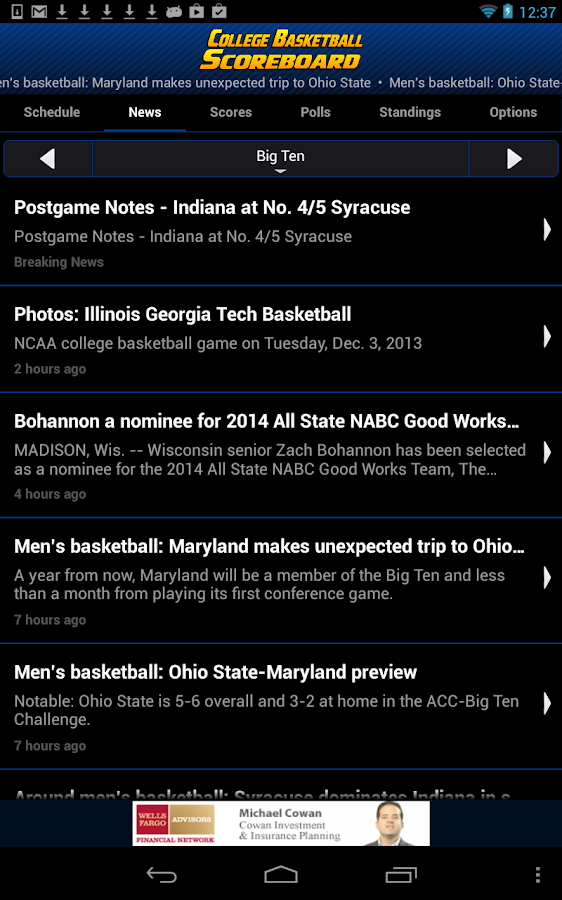 College Basketball Scoreboard- screenshot