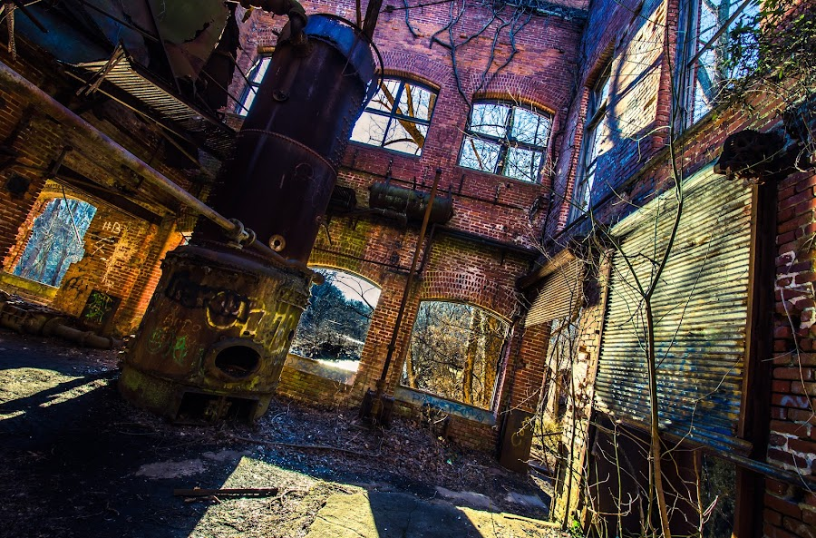 Abandoned machines by Fran Kat - Buildings & Architecture Decaying & Abandoned ( urban exploration, urbex, industrial, urban decay, colors, decay, abandoned, , blue, orange. color )