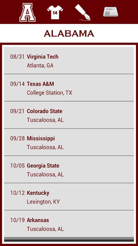 University of Alabama Football Schedule 2013 Alabama Football Schedule 2014