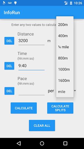 InfoRun - Running Calculator
