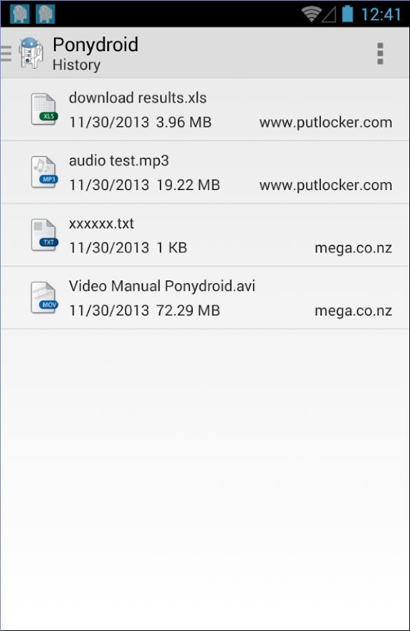 Ponydroid Download Manager- screenshot