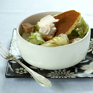 Ananda Caesar Salad with Cornmeal-Chickpea Pancake