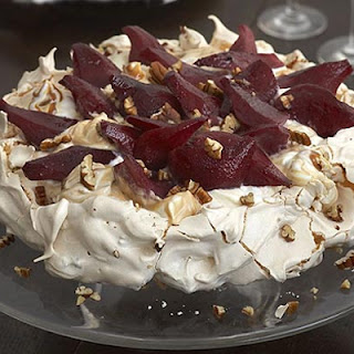 Pecan Toffee Meringue with Mulled Pears Recipe