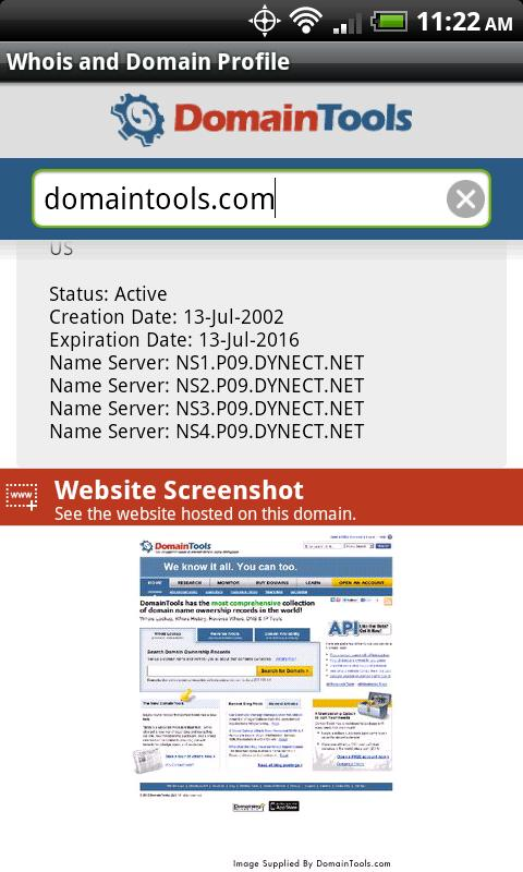 DomainTools Whois Lookup- screenshot