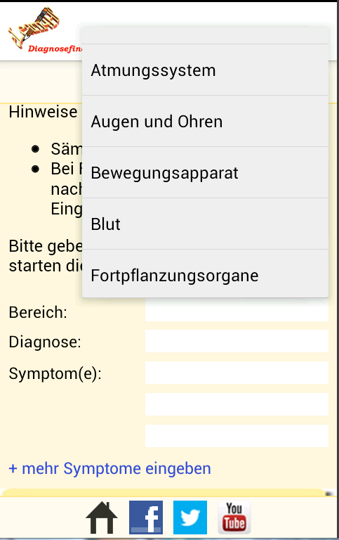 Diagnosefinder- screenshot