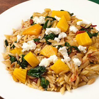 Orzo with Roasted Beets, Greens and Goat Cheese Recipe