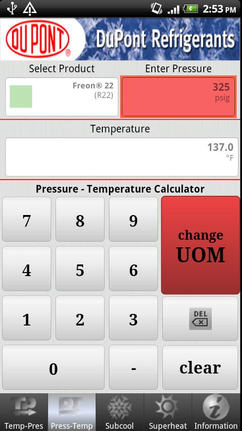 DuPont P/T Calc - screenshot