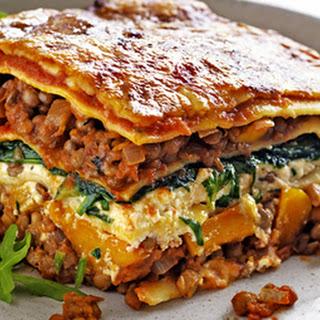Pumpkin, Spinach & Lentil Lasagne.