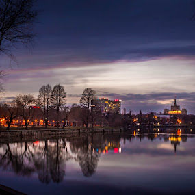 Herastrau at sunset by Adrian Ioan Ciulea - City,  Street & Park  Night ( lights, park, sunset, buildings, trees, reflections, lake, cityscape, city,  )