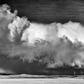 Wind Power by William Tipper - Black & White Landscapes ( storm, stormy, weather )