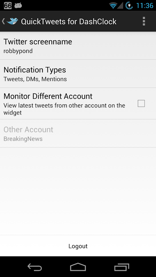 QuickTweets for DashClock- screenshot
