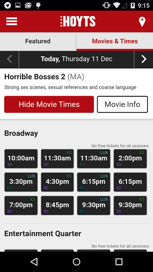 Hoyts Cinema- screenshot