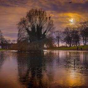 Sunset Reflections by Ian Yates ヅ - City,  Street & Park  City Parks