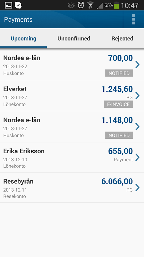 Nordea Mobile Bank – Sweden - screenshot