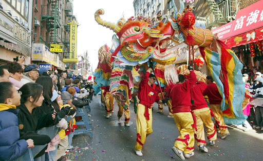 A dragon in the Chinatown NYC Lunar New Year.