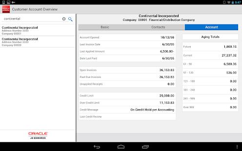 Customer Account - JDE E1 - náhled