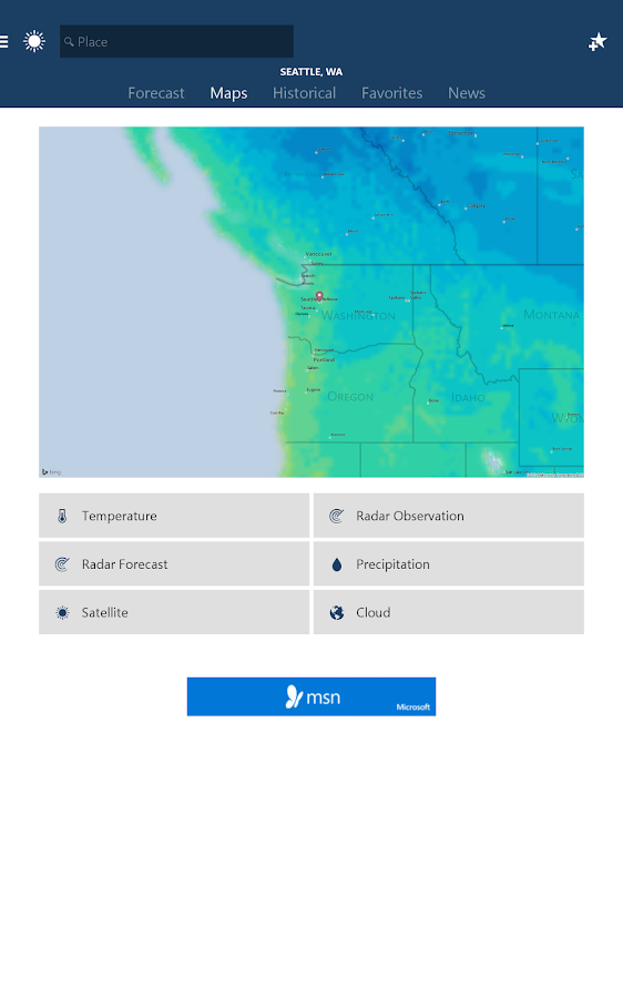 MSN Weather - Forecast & Maps- screenshot