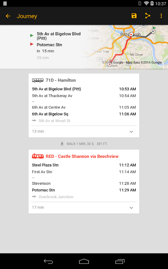ezRide Pittsburgh Mass Transit - screenshot