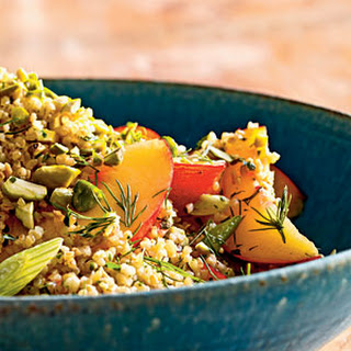 Cracked Wheat Salad with Nectarines, Parsley, and Pistachios.