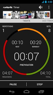 Runtastic Workout Timer App Screenshot