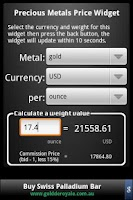 Screenshot of Precious Metals Price Widget