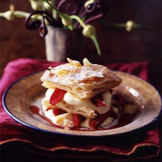 Millefoglie with Grappa Cream and Rhubarb