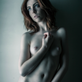 Red is blue by Antony Sendall - Nudes & Boudoir Artistic Nude ( model, nude, blue, female, shadow, artistic, redhead )