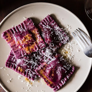 Beet Ravioli with Goat Cheese, Ricotta and Mint Filling.