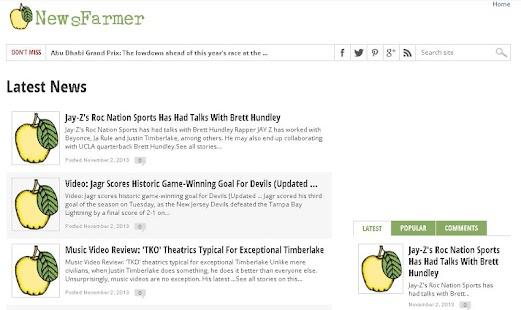 NewsFarmer Top RSS News Feeds - screenshot thumbnail