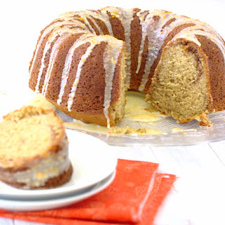 Pecan-Sour Cream Coffee Cake with Orange Glaze