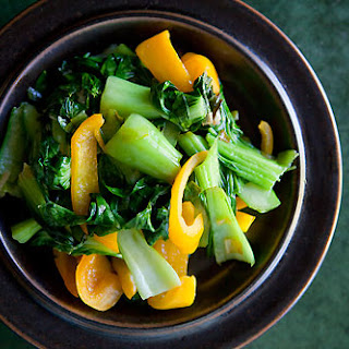 Baby Bok Choy with Yellow Bell Peppers.