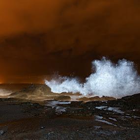 Waves by Bragi Kort - Landscapes Waterscapes ( iceland, bragi kort, sky, night picture, waterscape, waves, rock, long exposure, night, landscape, bkort photography )