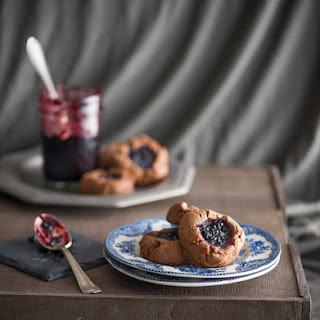 Peanut Butter Cocoa Cookies with Berry Jam.