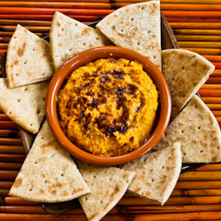 Recipe for Sweet Potato Hummus with Olive Oil and Sumac