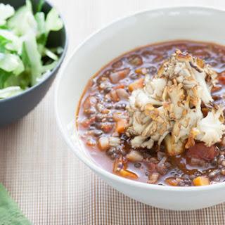 Black Lentil Soup with Crispy Maitakes & Smoked Sea Salt.