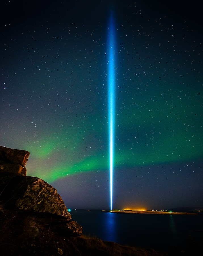 Peace column. by Hallgrimur P. Helgason - Landscapes Starscapes ( yoko ono, iceland, sky, reykjavik, stars, aurora borealis, northern lights, peace column, light, john lennon,  )