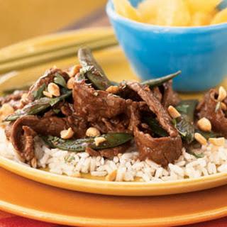 Stir-Fried Szechuan Steak on Rice.