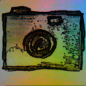 Camera paper drawing effect icon