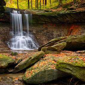 Bluehen Falls by Tim Monk - Landscapes Waterscapes ( cuyahoga national park, fall leaves on ground )