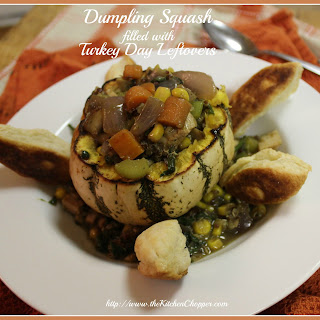 Dumpling Squash filled w Turkey Day leftovers