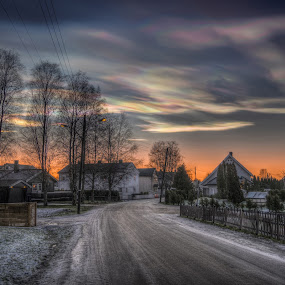 Askim, Norway 102 (Polar stratospheric clouds - Pearlescent clouds) by IP Maesstro - Landscapes Sunsets & Sunrises ( polar, clouds, hdr, northern lights, street, stratospheric, crystal, maesstro, pearlescent, path road, norway, city, phenomenon, winter, ice, sunset, snow, norge, sunrise, panasonic, light, askim, new, year, colorful, mood factory, vibrant, happiness, January, moods, emotions, inspiration, golden hour, , #GARYFONGDRAMATICLIGHT, #WTFBOBDAVIS )