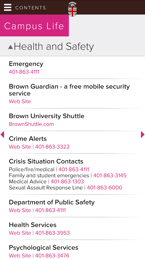 Brown University - screenshot