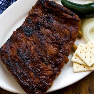 Ribs with Sam Houston's barbecue sauce.