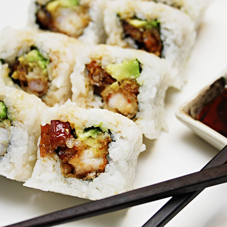 Eel & Avocado Inside-Out Roll with Shrimp Tempura and Eel Sauce