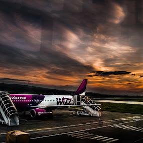 SunRise from the terminal by Dragos Birtoiu - Transportation Airplanes ( wizz, tg.mures, plane, aeroport, sunrise,  )