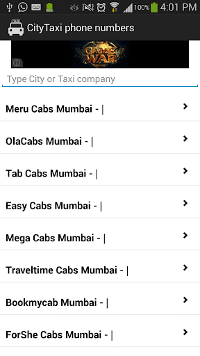 CityTaxi : Phone Numbers