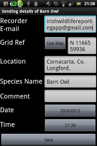 Irish Roadkill Reporting App- screenshot